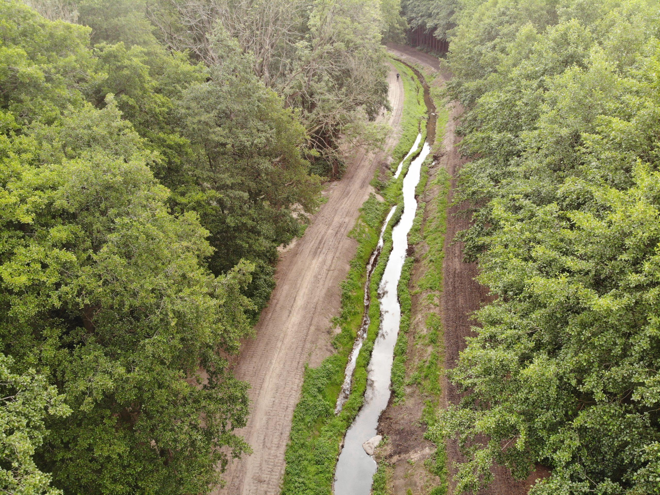Drohnenaufnahme der Hase Wasseracht: fertiggestellter Abschnitt