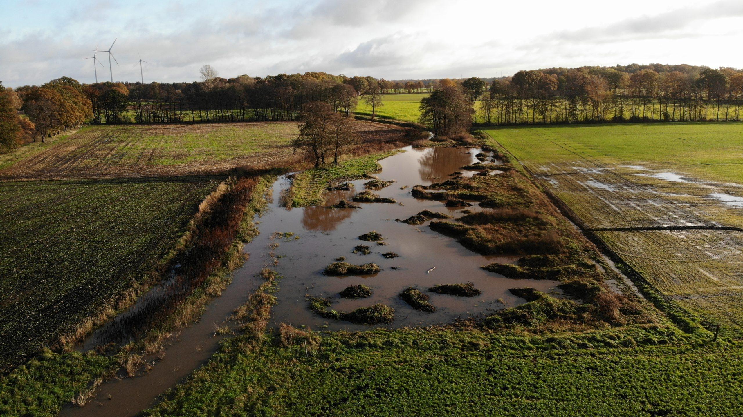 Drohnenaufnahme der Hase Wasseracht: Sekundäraue bei Hochwasser
