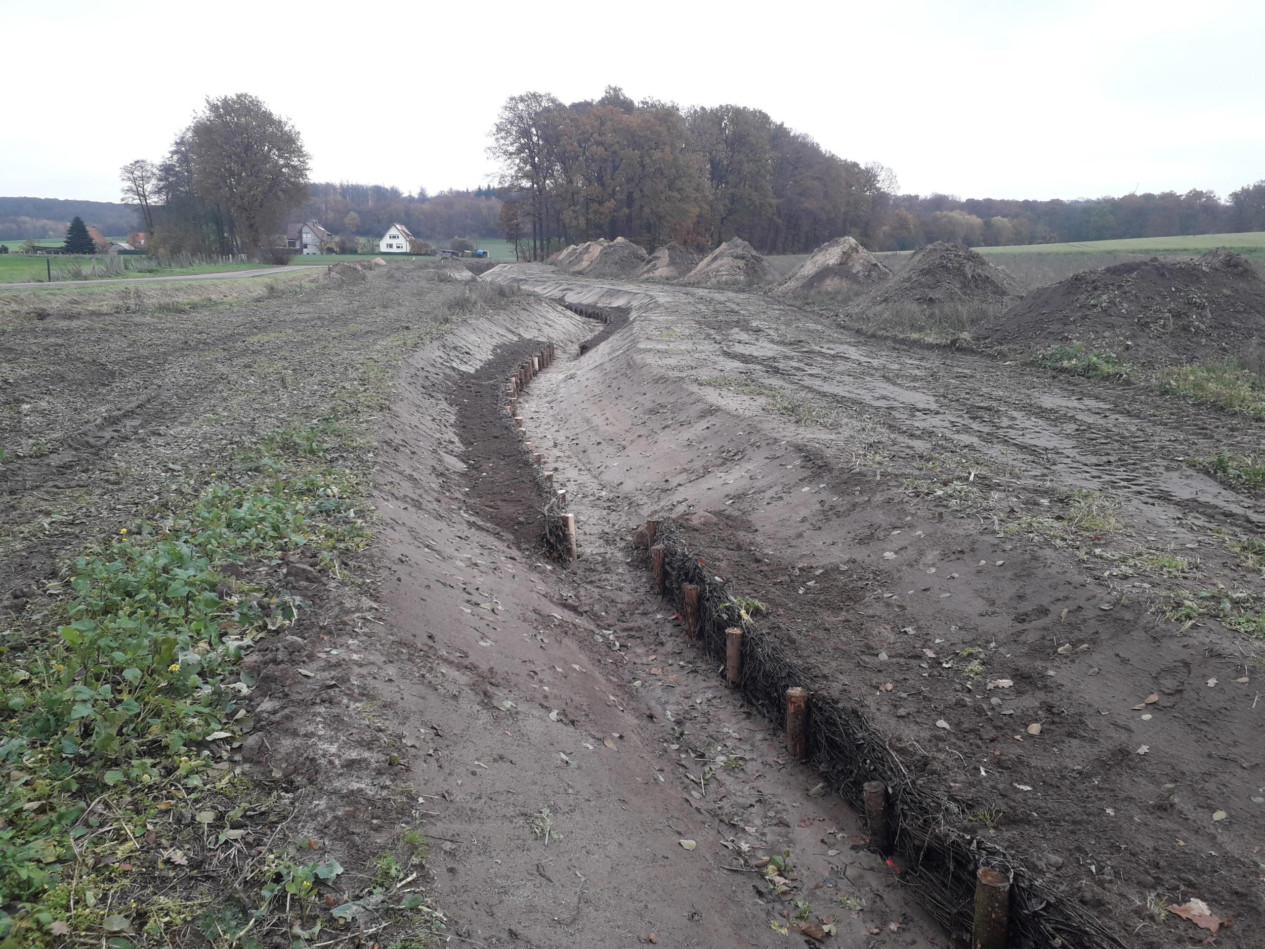 Bauphase: Anlegen des neuen Gewässerverlaufs und temporäre Prallufersicherung durch Pfahlreihen und Totholzfaschinen