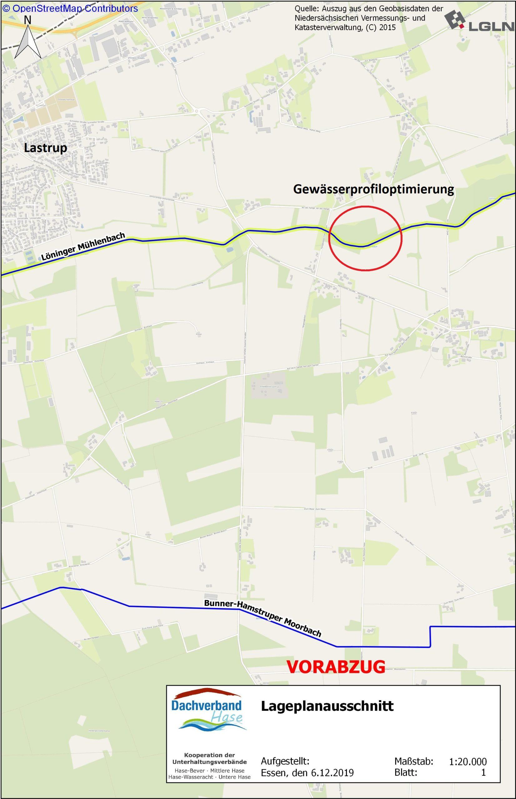 Lageplan: Profiloptimierung im Löninger Mühlenbach